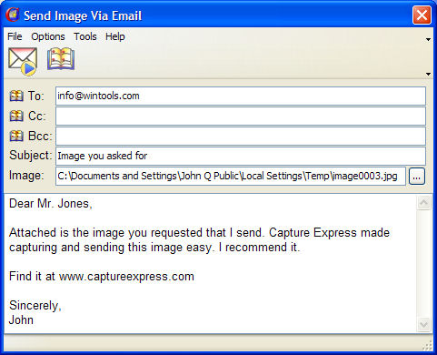 Capture Express email dialog screenshot