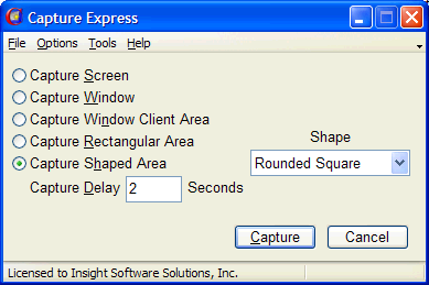 Screenshot of Capture Express what to capture dialog